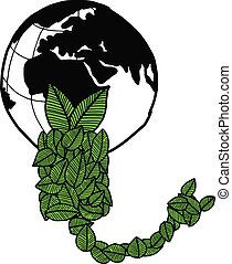 illustration vector doodle hand drawn earth and green leaves in the shape of bulb and plug, ecology concept, creative design.