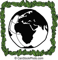 illustration vector doodle hand drawn earth covered with green leaves in the square shape, ecology concept, creative design.