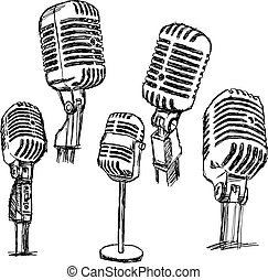 illustration vector doodle hand drawn retro microphone set, information concept