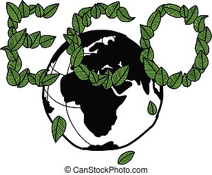 illustration vector doodle hand drawn green earth and green leaves arranged in the word of ECO, ecology concept, creative design.