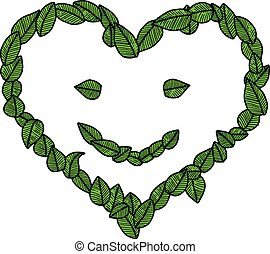 illustration vector doodle hand drawn green leaves in the shape of heart with smiling face, ecology concept.