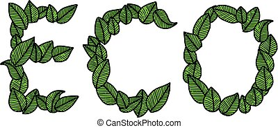 illustration vector doodle hand drawn green leaves in the word of ECO, ecology concept, creative design.