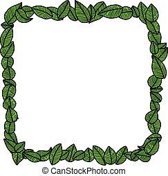 illustration vector doodle hand drawn green leaves square frame, ecology concept, creative design.