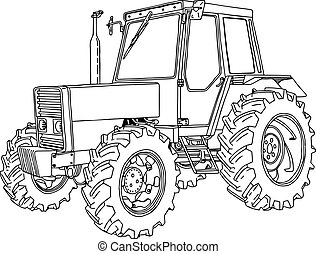 illustration vector doodle hand drawn of a tractor isolated on white background.