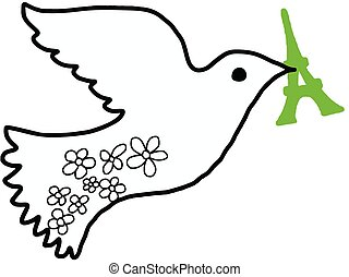 illustration vector doodle hand drawn of dove of peace with green eiffel tower in its beak.