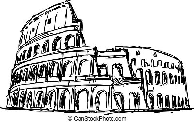 illustration vector doodle hand drawn of sketch the Roman Colosseum, Italy, isolated on white.