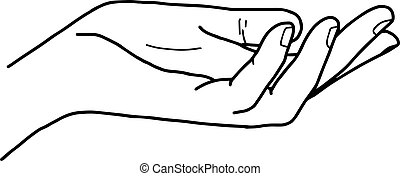 illustration vector doodle hand drawn of open hand giving or receiving.