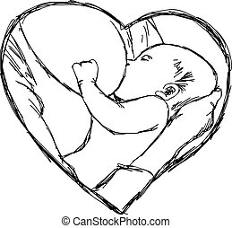 illustration vector doodle hand drawn of sketch breastfeeding baby in heart shape frame, love concept.