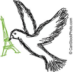 illustration vector doodle hand drawn of sketch dove of peace with green eiffel tower in its beak.