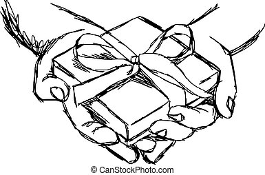 illustration vector doodle hand drawn of sketch hand of person giving or receiving gift package, isolated on white background.