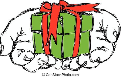 illustration vector doodle hand drawn of sketch hand of person giving or receiving green gift package with red ribbon, isolated on white background