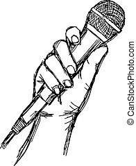 illustration vector doodle hand drawn of sketch hand with microphone.