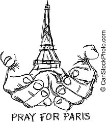 illustration vector doodle hand drawn of sketch hands with Eiffel tower, pray for Paris.