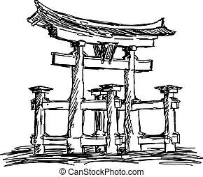 illustration vector doodle hand drawn of sketch itsukushima shrine Landmark in Japan, isolated on white.