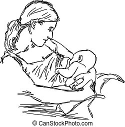 illustration vector doodle hand drawn of sketch mother is breast feeding for her baby.