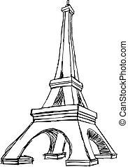illustration vector doodle hand drawn of sketch Paris eiffel...