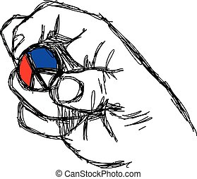 illustration vector doodle hand drawn of sketch right hand holding peace sign coin with color of French flag, red white and blue.