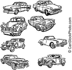 illustration vector doodle hand drawn of sketch set old car isolated on white background.