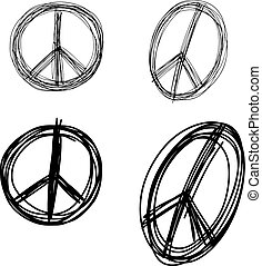 illustration vector doodle hand drawn of sketch set peace sign symbol isolated.