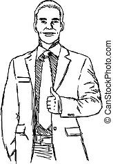 illustration vector doodle hand drawn of sketch smiling businessman with thumb up.