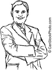 illustration vector doodle hand drawn of sketch smiling fat businessman with crossed arms