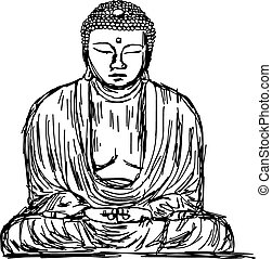 illustration vector doodle hand drawn of sketch The Great Buddha of Kotokuin Temple in Kamakura, Japan, isolated on white.