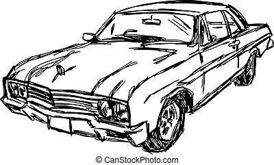 illustration vector doodle hand drawn sketch of car, design concept