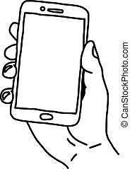 illustration vector doodle hand drawn sketch of human hand using small tablet