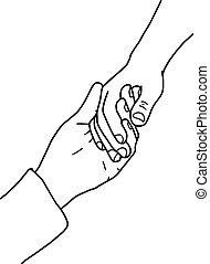 illustration vector doodles hand drawn holding hands.