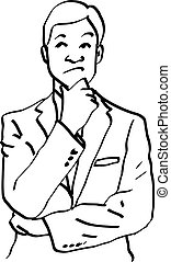 illustration vector doodles hand drawn man thinking and resting chin on hand.