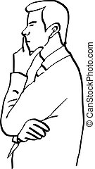 illustration vector doodles hand drawn man thinking and resting chin on hand, side view.