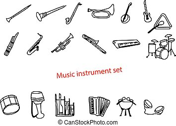 illustration vector doodles hand drawn music instrument set.