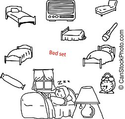 illustration vector doodles hand drawn objects in bedroom.