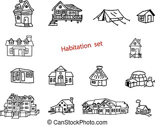 illustration vector doodles hand drawn of habitation or resident.