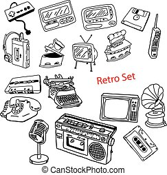 illustration vector doodles hand drawn set of retro-styled objects isolated.