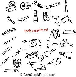 illustration vector doodles hand drawn tools supplies set.