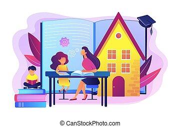illustration., vector, educando casa, concepto