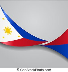 illustration., vector, flag., filipinas, ondulado