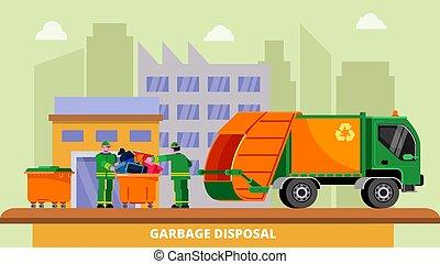 illustration., vector, gente, basura, dumpsters, trash., traperos, dos, desperdicio, eliminación, camión, porteros, reciclaje, concepto, cobrar, clasificación, dustcart, disposición