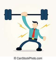 businessman show power using barbell