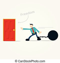 businessman walking hardly to freedom door