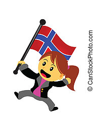 businesswoman with flag