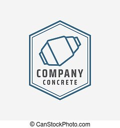 Illustration Vector Graphic Of Concrete Mixer Logo Design Template. Suitable For Construction Company, Building Contractor, Real Estate Or Etc. Simple Vintage Retro Style, Minimal Emblem And Easy To Edit