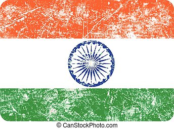 illustration vector grunge stamp flag of India country.