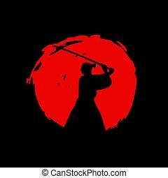 illustration., vector, guerreros, samurai, japonés, ...