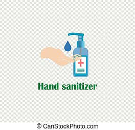 Illustration vector hand and antiseptic in dispenser on transparent background.