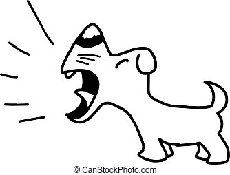 illustration vector hand draw doodles of barking dog isolated on white background.