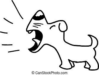 illustration vector hand draw doodles of barking dog...