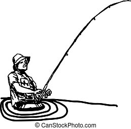 illustration vector hand draw doodles of fisherman with hook...