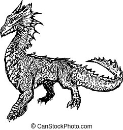 illustration vector hand draw doodles of imaginary creature...